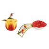 Fitz and Floyd Flower Market Spoon Rest and Condiment Jar Set