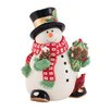 Fitz and Floyd Holly Berry Snowman 2.56-qt. Cookie Jar