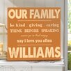 JDS Personalized Gifts Personalized Rules of Our Family Print on Wrapped Canvas