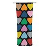 KESS InHouse Up and Down Hearts on Black Curtain Panels (Set of 2)