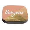 KESS InHouse Bonjour Metallic Coaster (Set of 4)