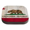 KESS InHouse California Flag Wood by Bruce Stanfield Coaster (Set of 4)