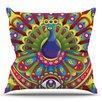 KESS InHouse Peacolor by Roberlan Rainbow Peacock Throw Pillow