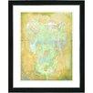 "Studio Works Modern ""Yellow Dansing Bud - Mint Green"" by Zhee Singer Framed Fine Art Giclee Painting Print"