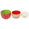 DEI Christmas Morning 3 Piece Ceramic Nested Bowl Set