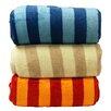 LCM Home Fashions Luxury Printed Striped Plush Blanket