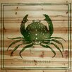 Marmont Hill Dungeness Crab Graphic Art on Wood Planks in Natural
