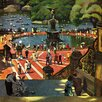 Marmont Hill Boating in Central Park by John Falter Painting Print on Wrapped Canvas