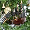 Handcrafted Nautical Decor Captain Kidd's Wooden Adventure Galley Model Pirate Ship Christmas Tree Ornament
