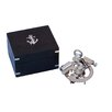 Handcrafted Nautical Decor Chrome Round Sextant with Black Rosewood Box