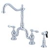 Kingston Brass English Country Double Handle Center Deck Mount Bridge Kitchen Faucet with Side Spray