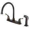 Kingston Brass Nuvofusion Doubt Handle Centerset Kitchen Faucet with Sprayer