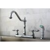 Kingston Brass Tudor Double Handle Centerset Kitchen Faucet with Spray