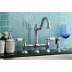 Kingston Brass Restoration Double Handle Deck Mount Kitchen Faucet with Spray