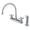 Kingston Brass Vintage Double Handle Goose Neck Kitchen Faucet with Spray