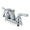 Kingston Brass Naples Double Handle Centerset Bathroom Sink Faucet with ABS Pop-Up Drain