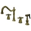 Kingston Brass Heritage Double Handle Widespread Kitchen Faucet with Spray
