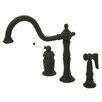 Kingston Brass Heritage Single Handle Deck Mount Widespread Kitchen Faucet with Brass Spray