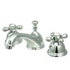 Kingston Brass Restoration Double Handle Widespread Bathroom Sink Faucet with Brass Pop-up