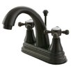 Kingston Brass English Vintage Double Handle Centerset Bathroom Faucet with Brass Pop-Up Drain