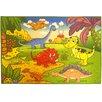 Ottomanson Children's Dinosaurs Green Area Rug