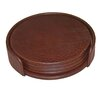 Dacasso 1000 Series Classic Leather Round Coasters with Holder in Mocha (Set of 4)