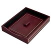 Dacasso 5000 Series 24kt Gold Tooled Leather Front-Load Letter Tray with Lid in Burgundy