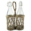 Blossom Bucket Two Place Wicker Bottle Holder with Bottles (Set of 2)
