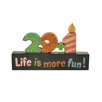"Blossom Bucket ""29+1 Life Is More Fun"" Block (Set of 4)"