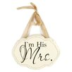 Blossom Bucket 'I'm His Mrs.' Plaque with Ribbon Wall Decor (Set of 4)
