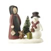 Blossom Bucket Amish Woman with Tree and Snowman Figurine (Set of 2)
