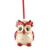 Blossom Bucket Red and White Owl Ornament (Set of 6)