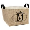 A Southern Bucket Personalized Crown Oval Burlap Storage Basket