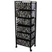 ORE Furniture Zebra Print 6 Drawer Rack on Wheels
