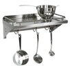 John Boos Cucina Americana Mensola Grande Shelf with Wall Mounted Pot Rack