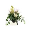 D & W Silks Peony and Orchid with Mixed Foliage in Round Ceramic Planter
