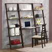 """4D Concepts Arlington 72.4"""" Leaning Bookcases and Desk"""