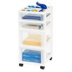 Iris Medium Cart with 4 Clear Drawers and Organizer Top - White