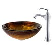 Kraus Midas Glass Vessel Sink with Ventus Faucet