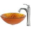 Kraus Blaze Glass Vessel Sink with Riviera Faucet