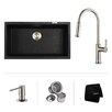 "Kraus 31"" x 17.09"" Undermount Single Bowl Kitchen Sink with Faucet"