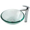 Kraus Clear Glass 19 mm Vessel Sink and Visio Bathroom Faucet in Chrome