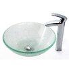 Kraus Broken Glass Vessel Sink and Visio Bathroom Faucet in Chrome