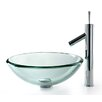 Kraus Clear 19mm Thick Glass Vessel Bathroom Sink & Sheven Faucet