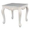 International Caravan Windsor Antique White Hand Carved End Table