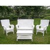 International Caravan San Tropez 4 Piece Lounge Seating Group with Cushions