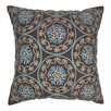 Blazing Needles Indian Floral Medallion Hand-embroidered Cotton Throw Pillow