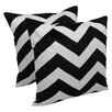 Blazing Needles Indian Chevron Cotton Throw Pillow (Set of 2)