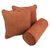 Blazing Needles 3 Piece Microsuede Throw and Bolster Pillow Set (Set of 3)