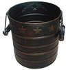 Craft Outlet Star Tin Pail with Wooden Handle